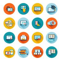 e-learning icon flat vecteur