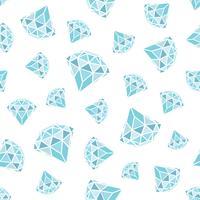 Modèle sans couture de diamants bleus géométriques sur fond blanc. Conception de cristaux tendance hipster. vecteur