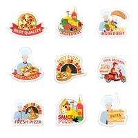 Ensemble d'étiquettes de pizza vecteur