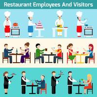 Employés de restaurant et visiteurs vecteur