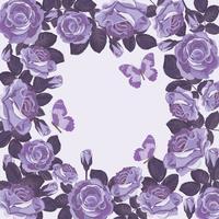 Modèle de carte floral avec des roses violettes et des papillons. Beau cadre. vecteur
