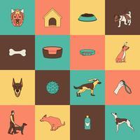 Ligne plate d'icônes de chien vecteur