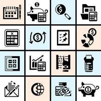 Icônes de comptabilité mis en noir