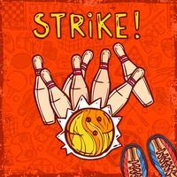 Fond de croquis de bowling vecteur
