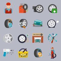 icône du service de pneus à plat