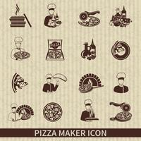 Pizza Maker Icon Noir vecteur