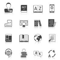 Jeu d'icônes de traduction et de dictionnaire vecteur