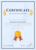 Certificat de gagnant avec sceau vecteur