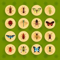 Ensemble d'icônes plat insectes vecteur
