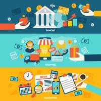 Bannières plates de comptabilité vecteur
