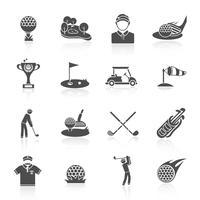 Icônes de golf mis en noir vecteur