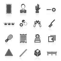 Billard Noir Icons Set vecteur