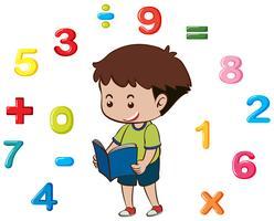 Livre de lecture garçon avec numéros en arrière-plan vecteur