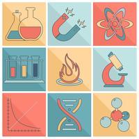 Ligne plate d'icônes de matériel de laboratoire