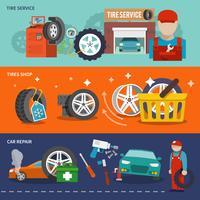 Jeu de bannière de pneu vecteur