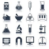 Icônes d'équipement de laboratoire noires