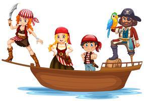 Pirate et équipage sur un bateau en bois vecteur