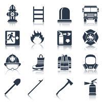 Icônes de pompier noir