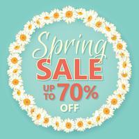 Bannière de vente de printemps avec daisy chain et texte sur fond bleu vintage.