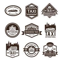 jeu d'étiquettes de taxi noir vecteur