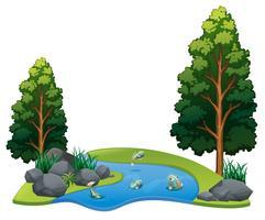 Poisson vivant dans un paysage fluvial vecteur