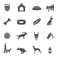 Icônes de chien noir vecteur