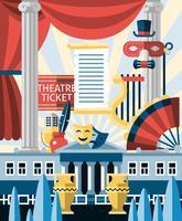 Concept d'icônes de théâtre vecteur