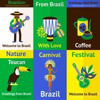 Ensemble de mini affiches du Brésil vecteur