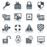 Icônes de sécurité définies en noir