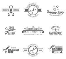 étiquette de coiffeur noir vecteur