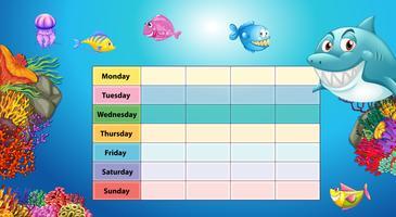 Table des jours de la semaine avec fond sous-marin