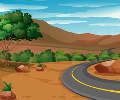 Scène avec route vers la campagne