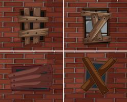 Cassé, fenêtres, sur, brickwall