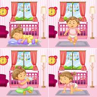 Quatre scènes de bambin dans la chambre