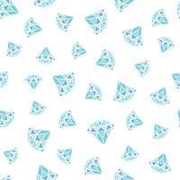 Modèle sans couture de diamants bleus géométriques sur fond blanc. Conception de cristaux tendance hipster.