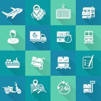 Icônes logistiques définies en blanc