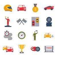 auto sport icône plate