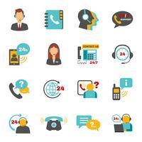 Support jeu d'icônes de centre d'appels de contact