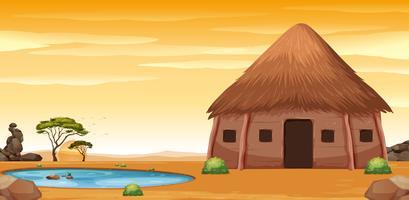 Une cabane africaine dans le désert vecteur