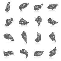jeu d'icônes d'aile vecteur