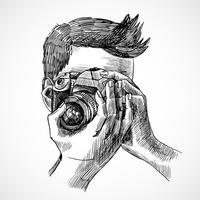 Portrait esquisse photographe vecteur
