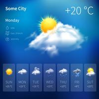 Widget météo réaliste vecteur