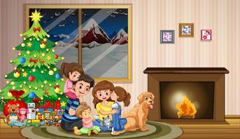 Une famille fête Noël