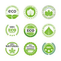Jeu d'icônes étiquettes écologiques feuilles vecteur