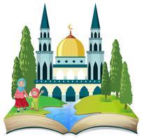 Un thème à livre ouvert musulman vecteur