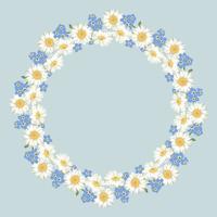 Motif de fleurs de camomille et de myosotis sur fond bleu vintage