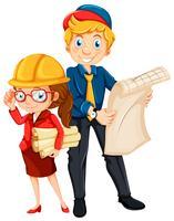 Ingénieur mâle et femelle avec blueprint vecteur