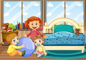 Trois enfants dans la chambre avec lit bleu
