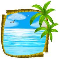 Scène de mer avec cadre en noix de coco