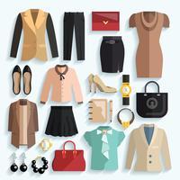 Icônes de vêtements de femme d'affaires